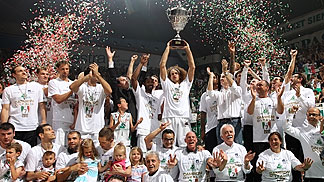 Montepaschi Mens Sana Siena celebrating winning the Italian Serie A 2011/12 title